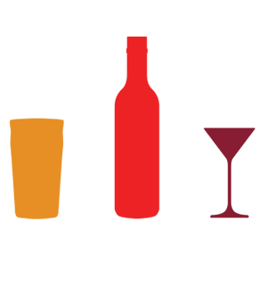 Graphic showing units and calories for beer, wine and spirits
